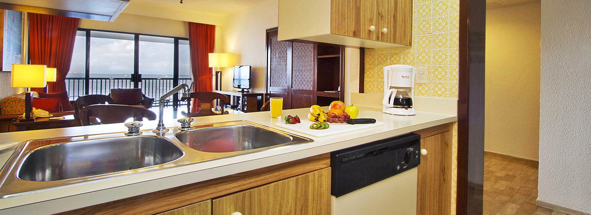kitchen in beachfront Cancun suite
